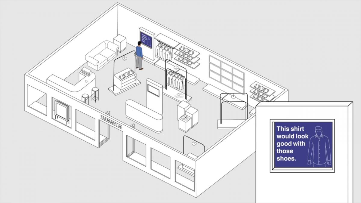 Na interaktivní obrazovce se může zákazník přesvědčit, jak v daném kousku vypadá, případně aplikace navrhne jinou barvu, velikost nebo doplňující prvky