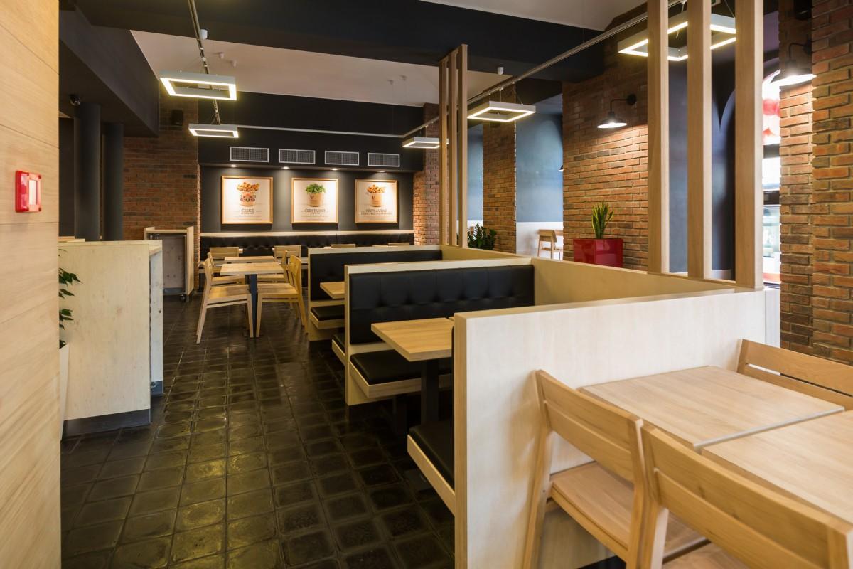 Přízemí interiéru první restaurace v novém konceptu, kterou najdeme na I.P. Pavlova