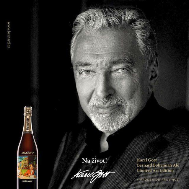Etiketu lahví Bernard Bohemian Ale doplní obraz Karla Gotta