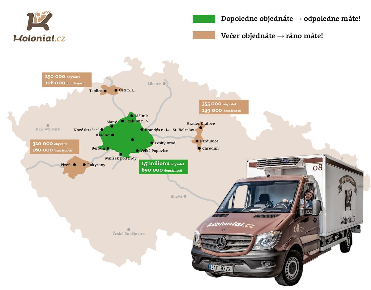 Mapa rozvozu Kolonial.cz