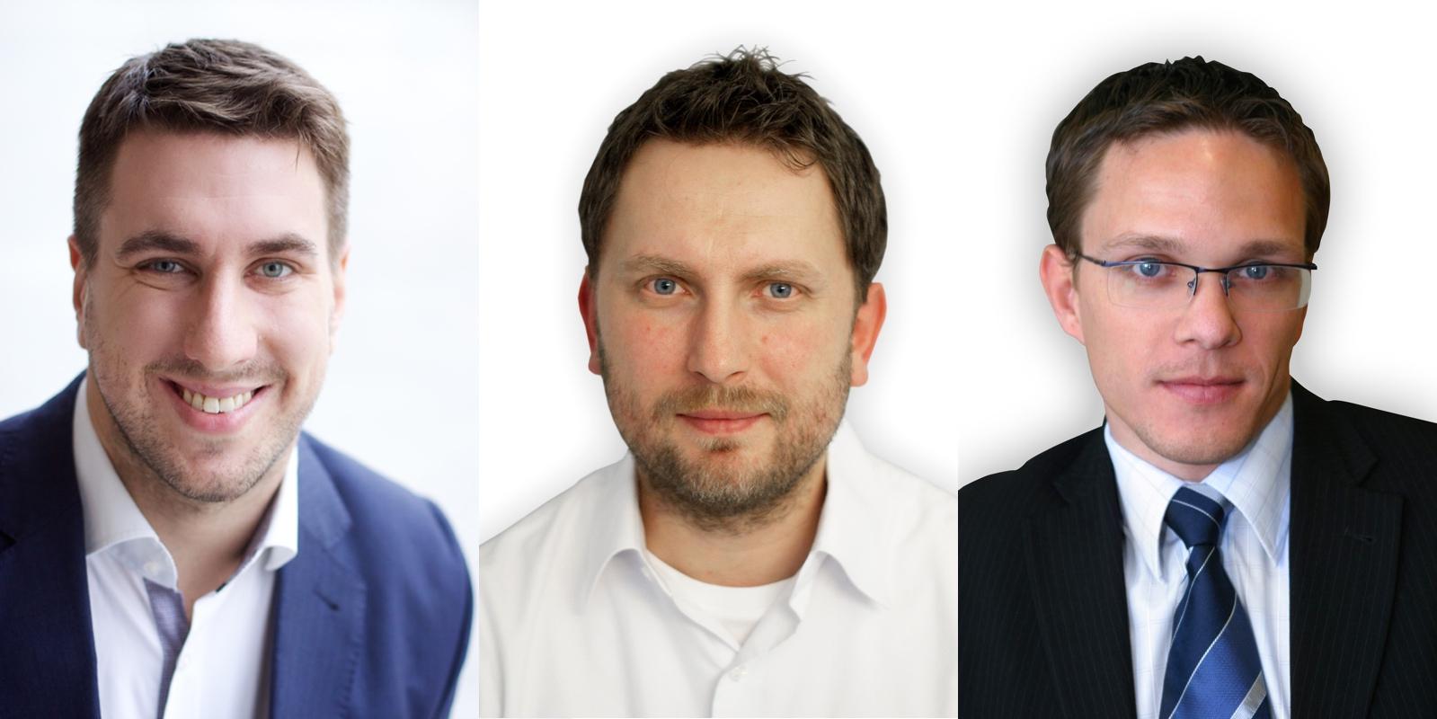 Management Rohlík.cz. Zleva Tomáš Čupr, Josef Gabaš, Christian Koller