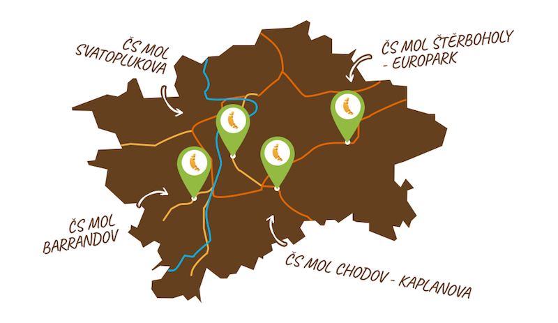Mapa odběrných míst pro novou službu Rohlik na cestě