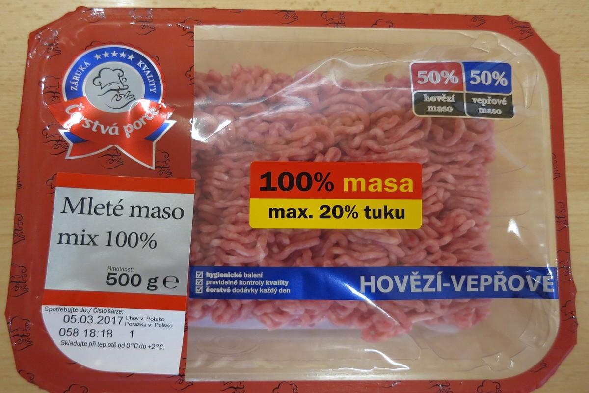 Závadné balení mletého masa