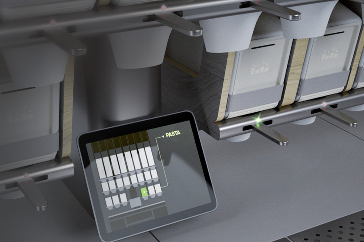 Zásobníky Miwa propojené s tabletem