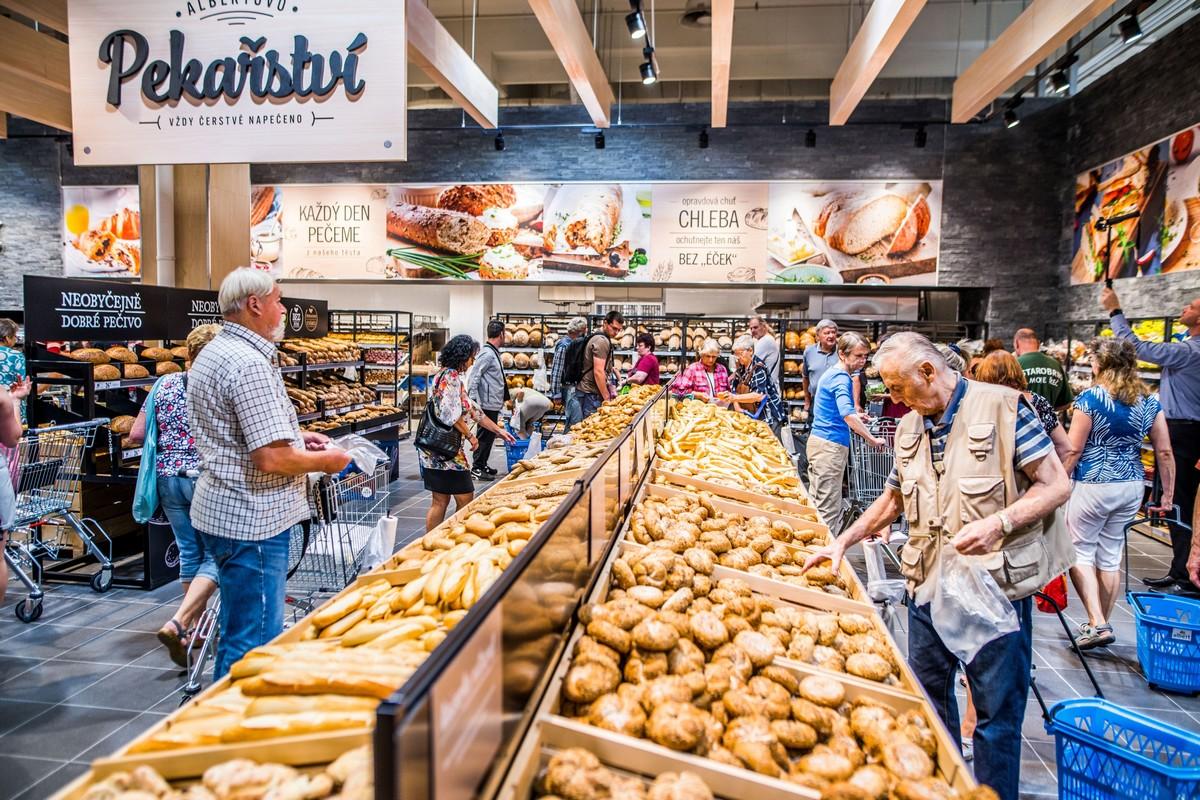 Nové úsek pekařství v prodejně Albert na Chodově
