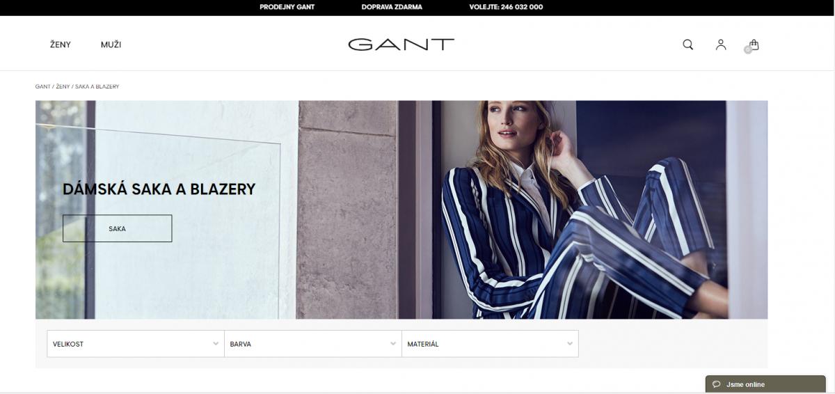 Nový e-shop oděvní značky Gant
