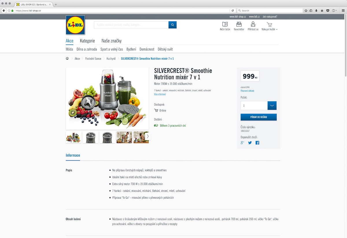 Lidl-Shop.cz: Produkt