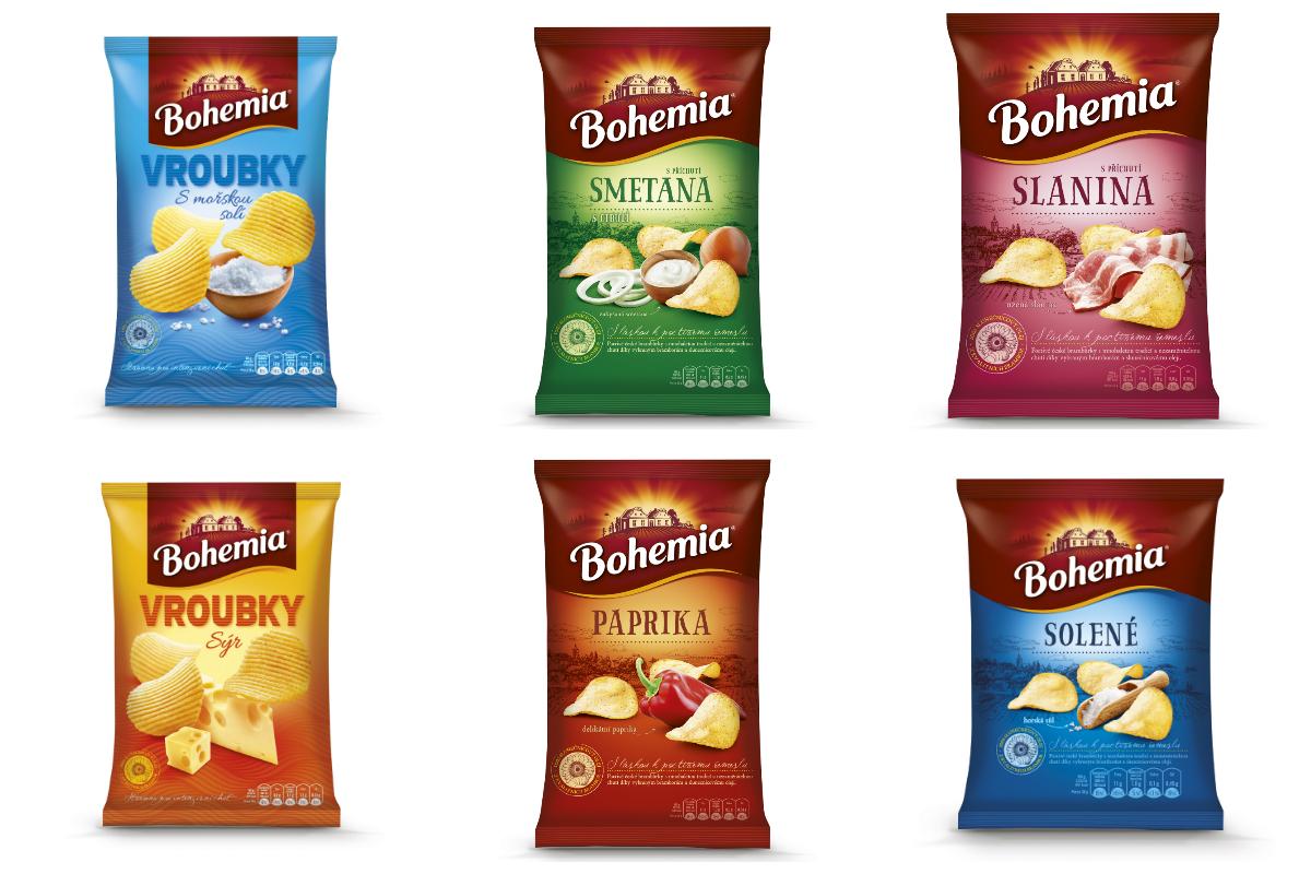 Nové obaly brambůrků Bohemia Chips