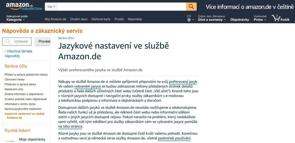 Web Amazonu přeložený do českého jazyka