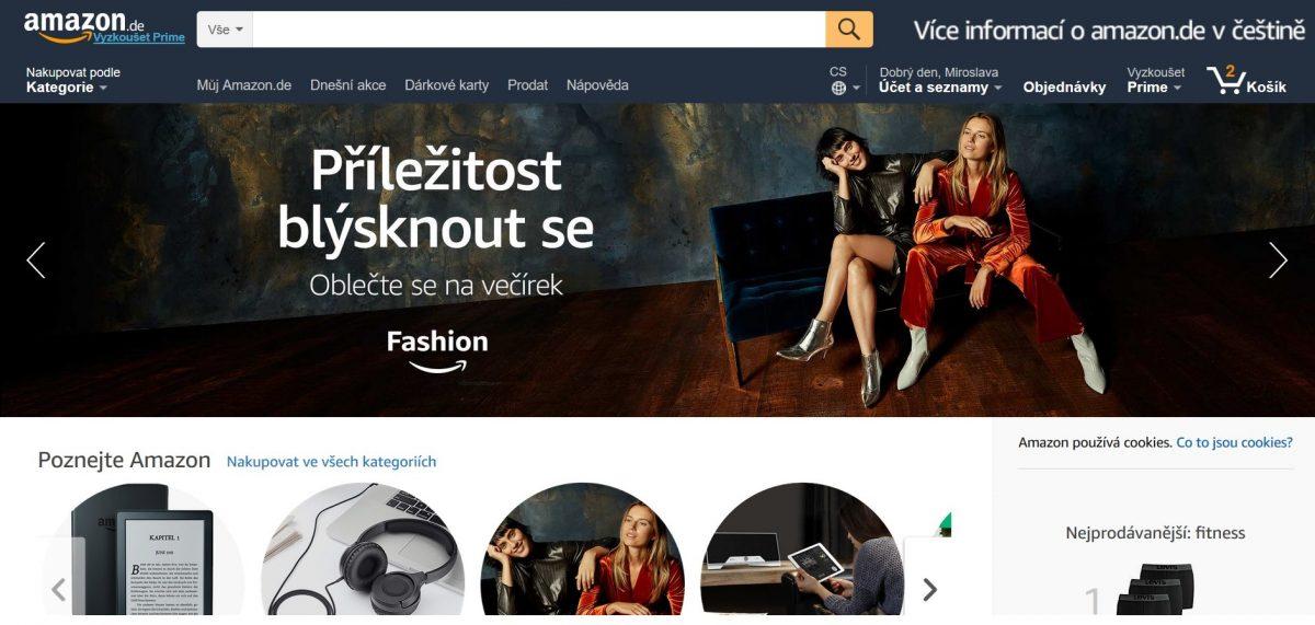 Úvodní strana webové stránky Amazonu.de přeložená do češtiny