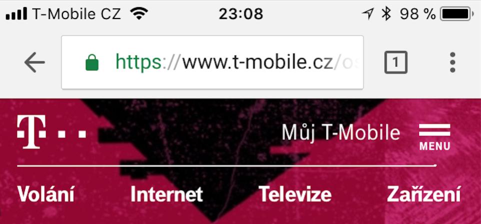 Menu na webu T-Mobilu