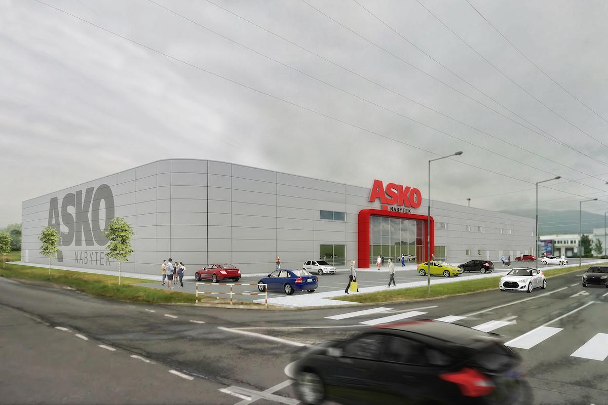 Vizualizace nového obchodního domu Asko Nábytek v Teplicích