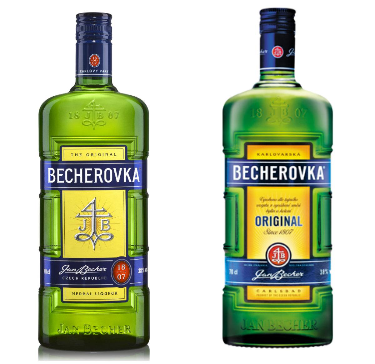 Zleva nový design Becherovky versus starý